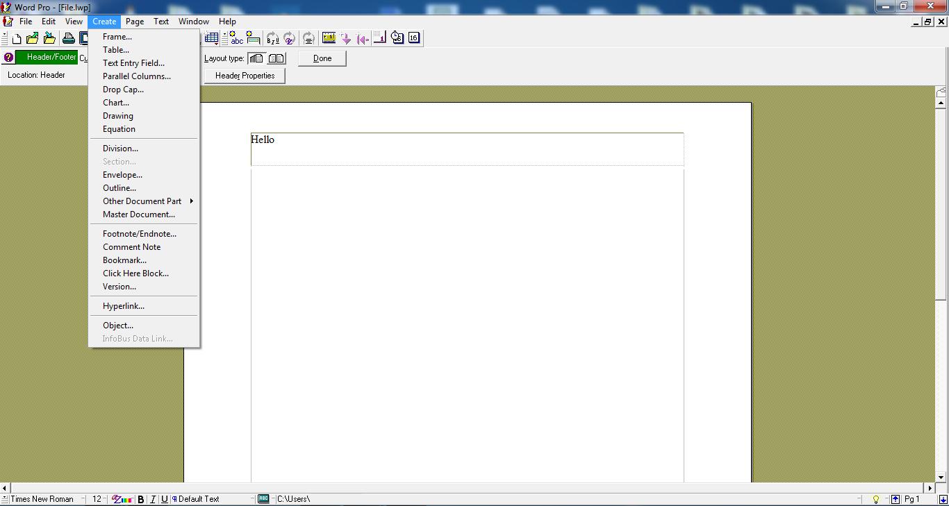Lotus Word Pro LWP file
