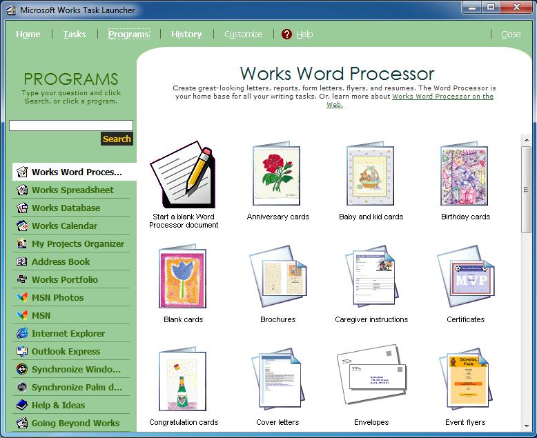 Microsoft Works Word Processor