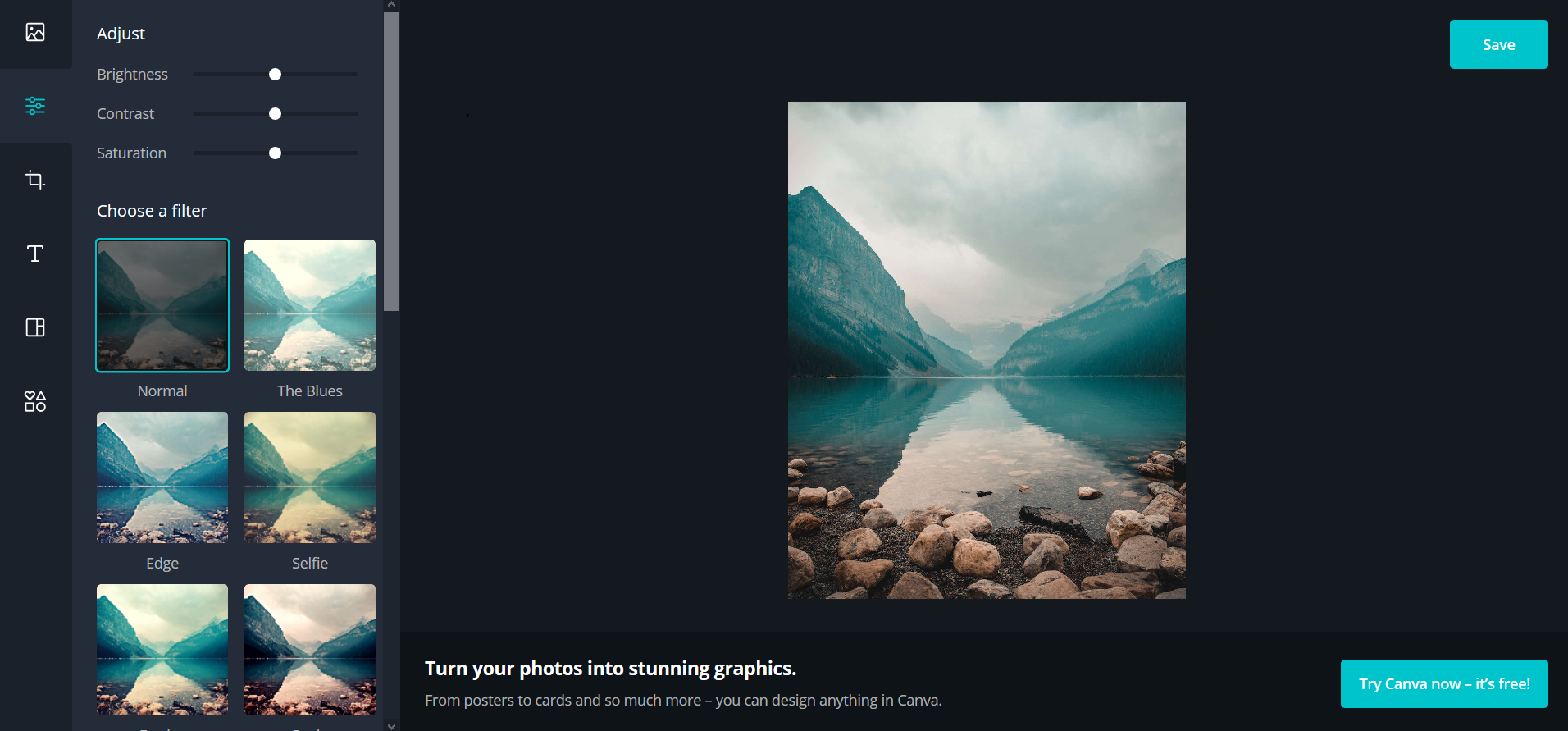 Free online photo editing tool Canva