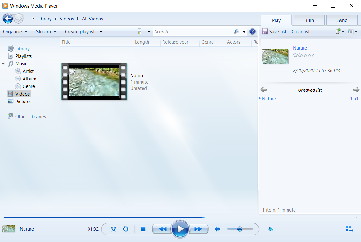 Windows Media Player for playing video formats