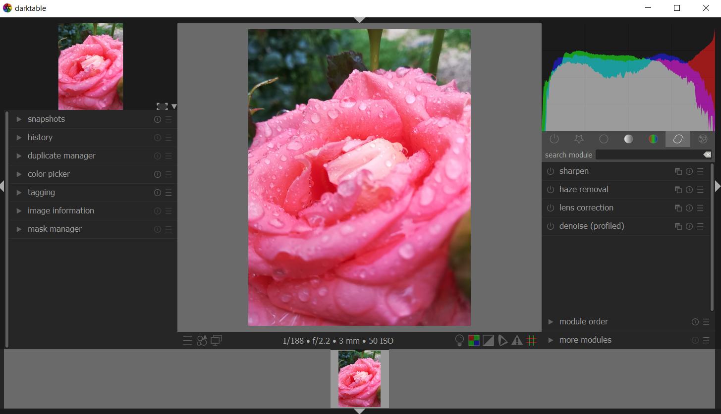 Darktable free editing tool