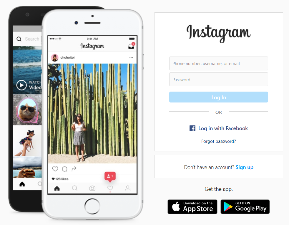 Login form on Instagram