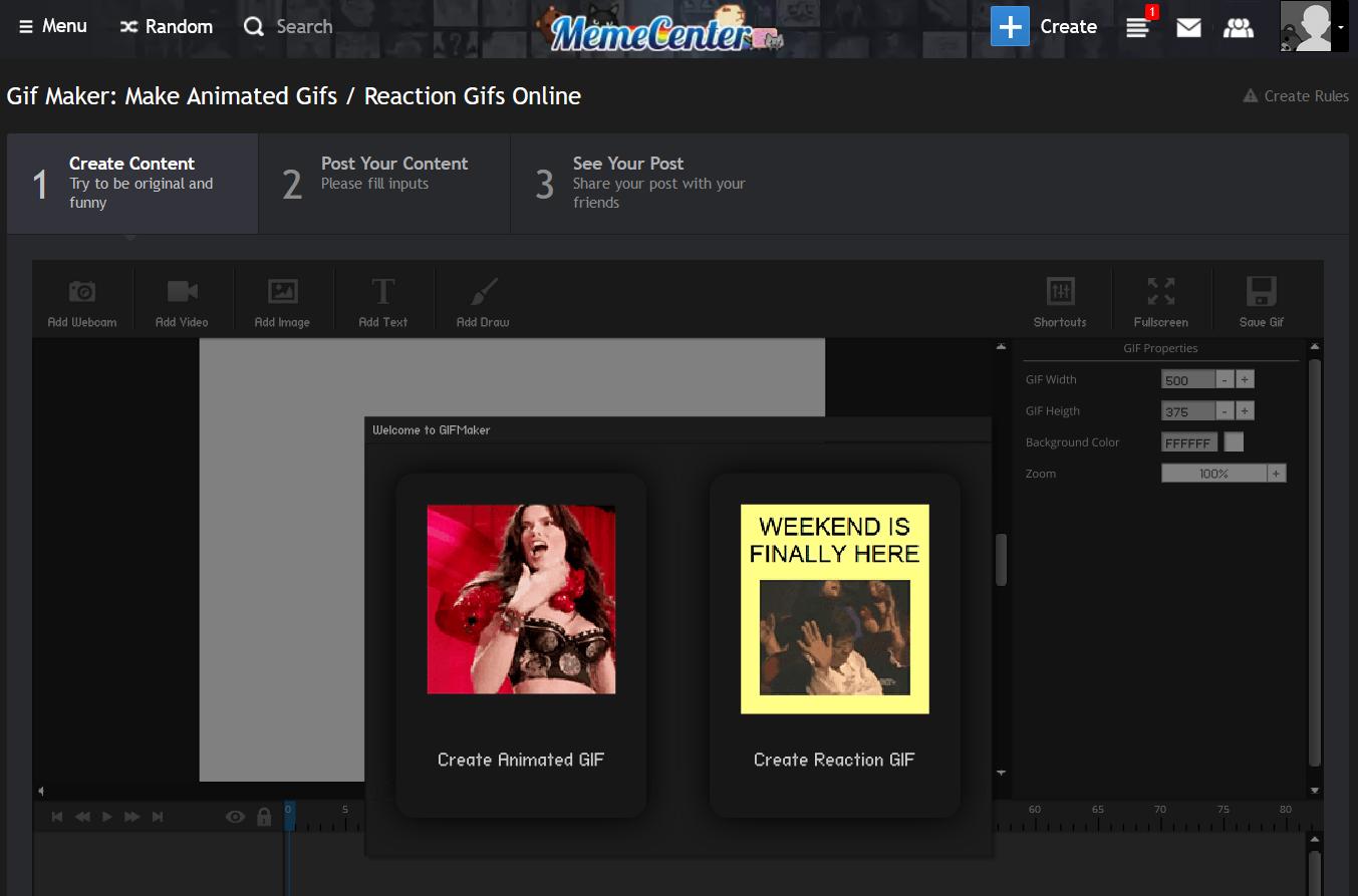 Make a GIF with Meme Center