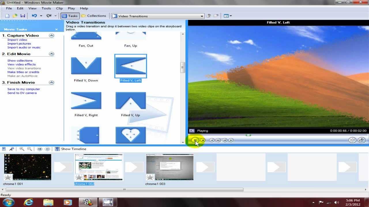 Windows Movie Maker file types example