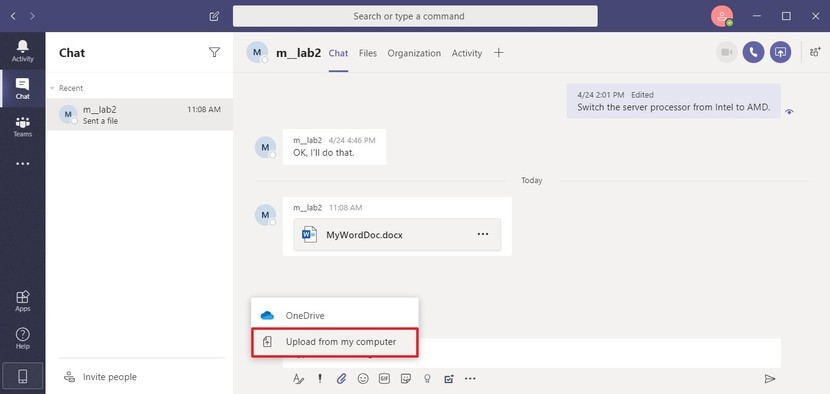 upload files to microsoft teams - onedrive