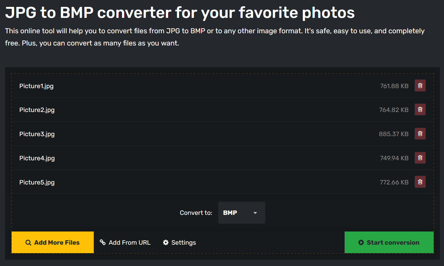 How to convert JPG to BMP online?