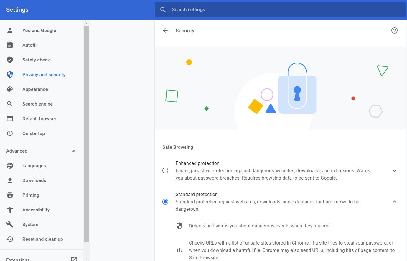 Google Chrome security options