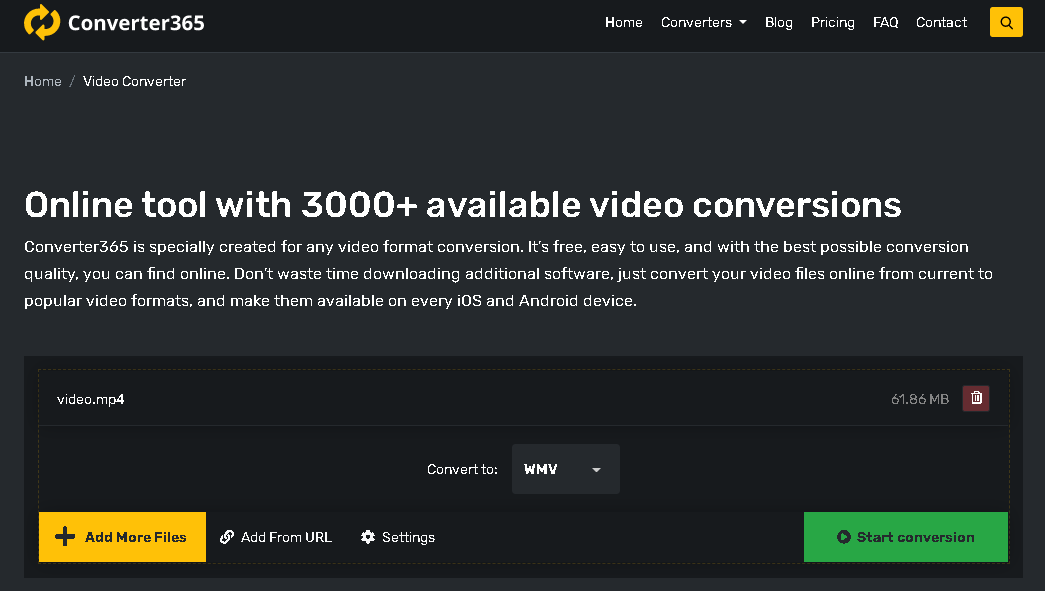 how to make video files smaller - converter365 step 1