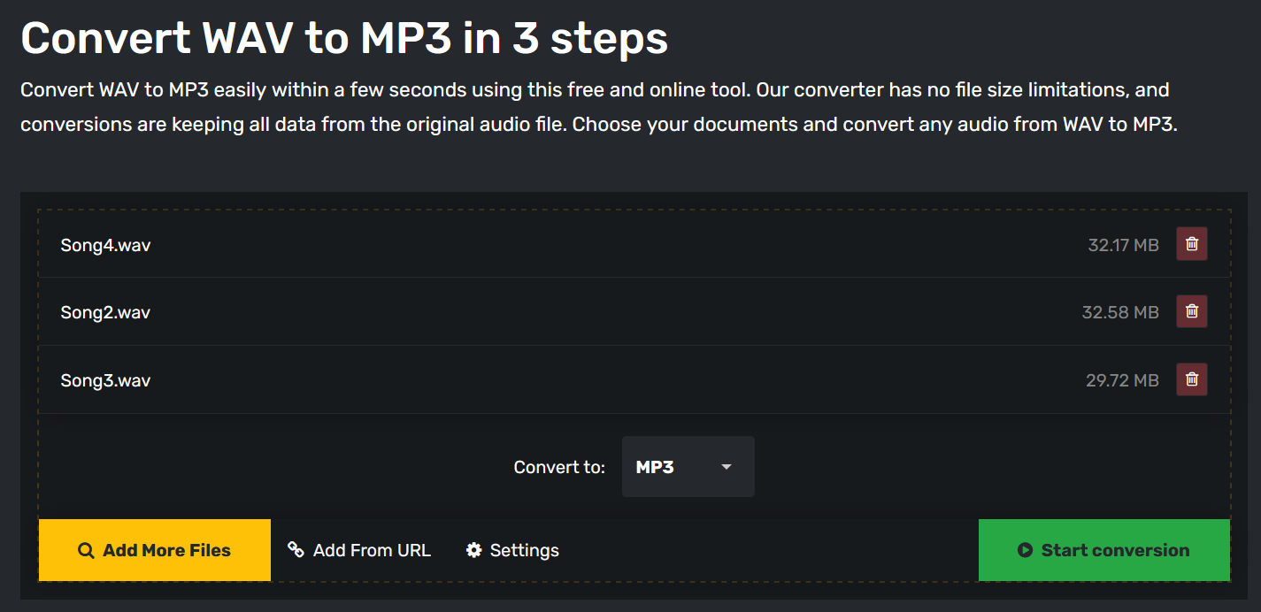 How to convert a WAV file to MP3 online for free