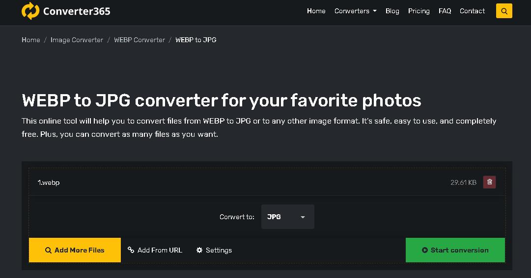 How to convert WebP to JPG online - converter365