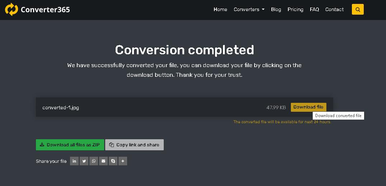 How to convert WebP to JPG online - converter365 step 3