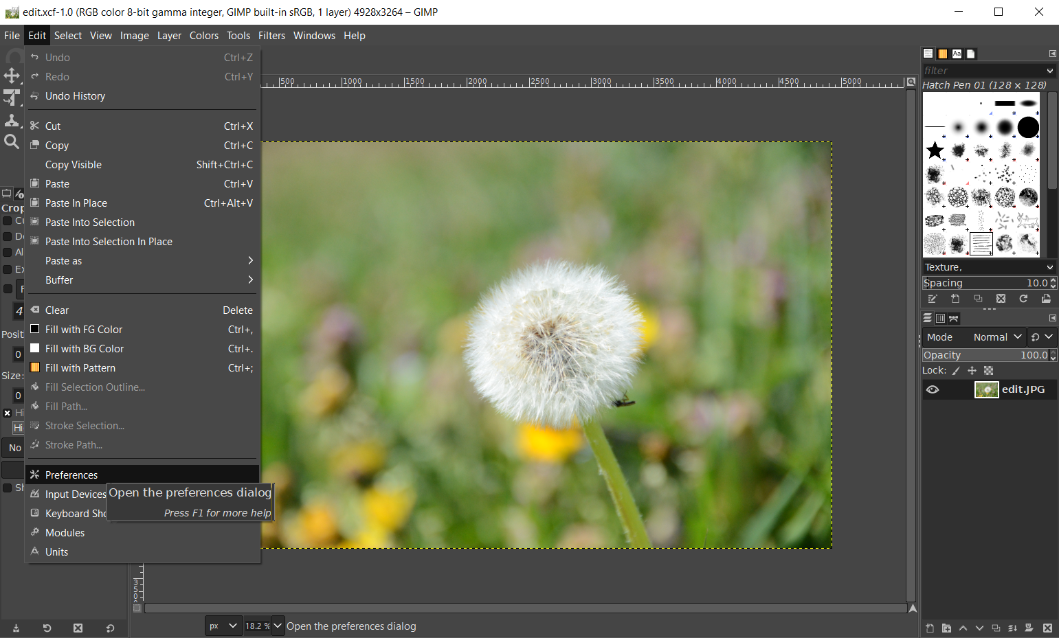 How to open an XCF file in Photoshop by changing default format in GIMP
