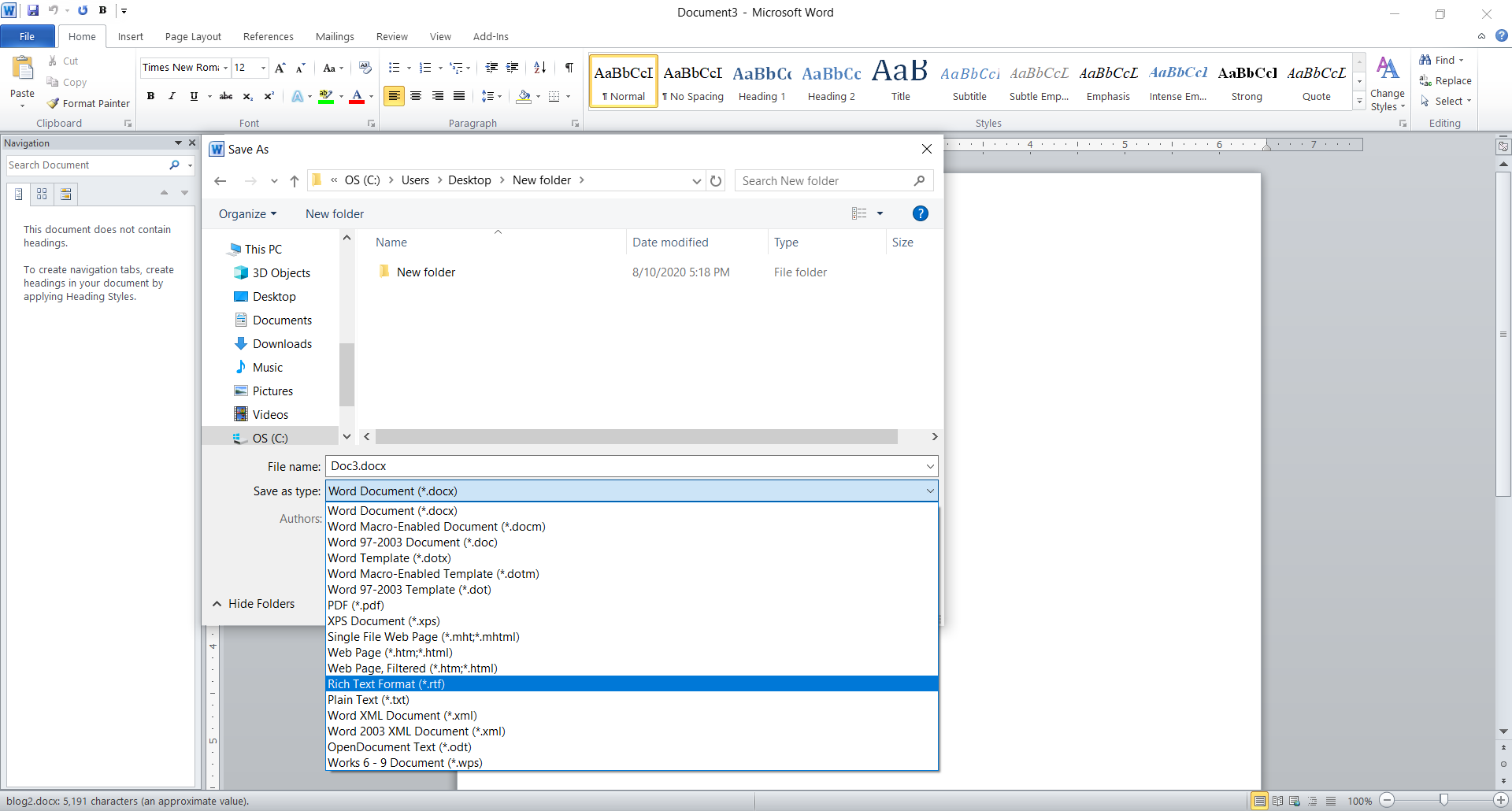 Supported formats in Microsoft Word