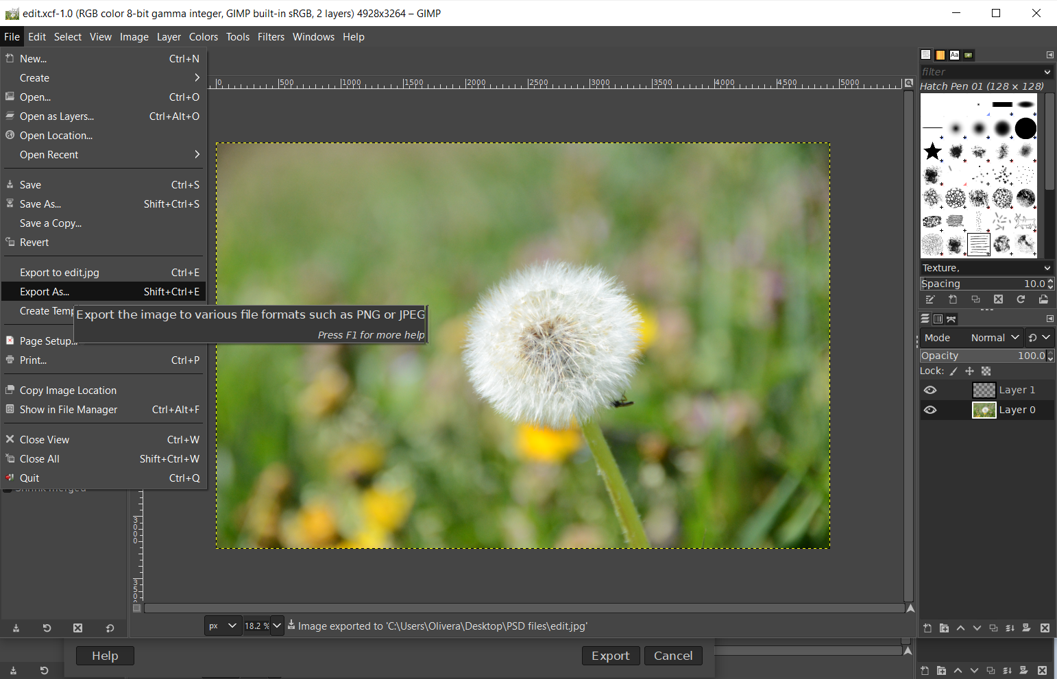 How to open an XCF file in Photoshop by exporting to PSD in GIMP