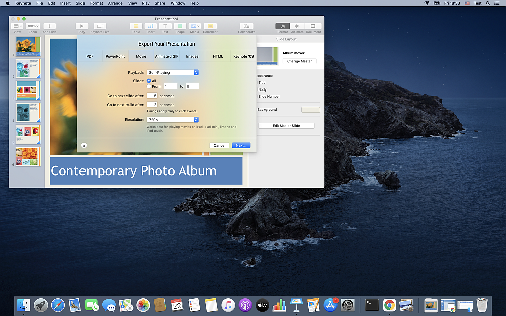How to convert PPTX to MP4 with Apple Keynote?