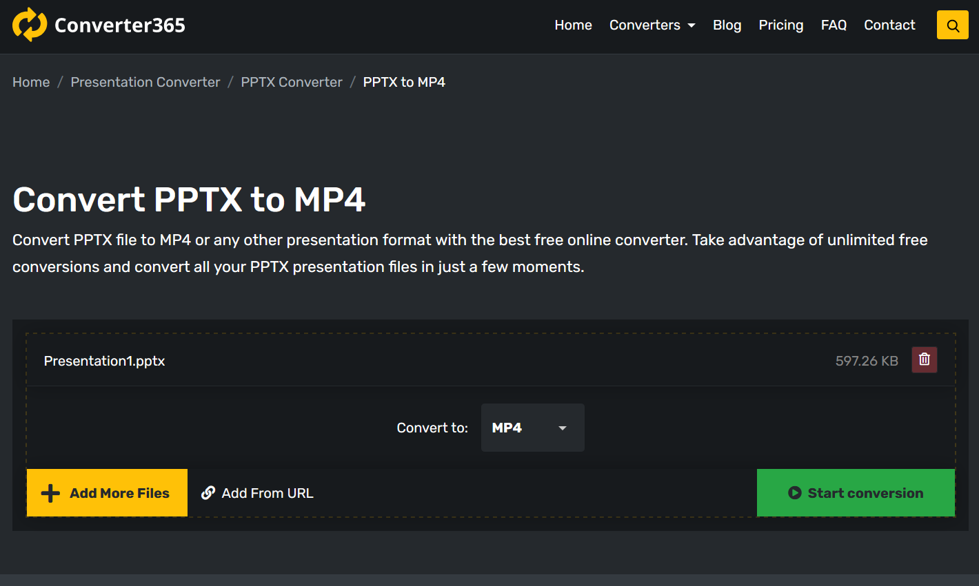 How to convert PPTX to MP4 online?