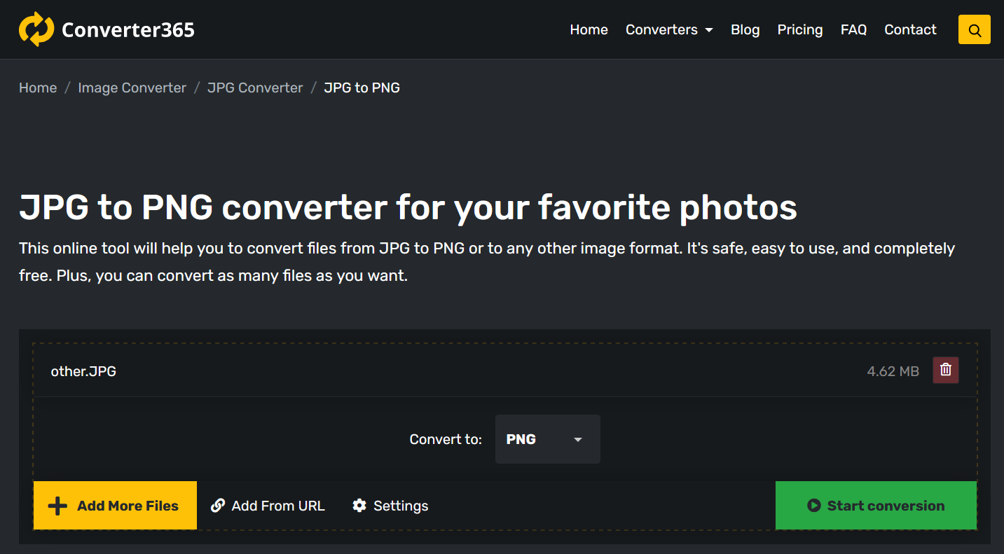 Popular file format conversion with Converter365