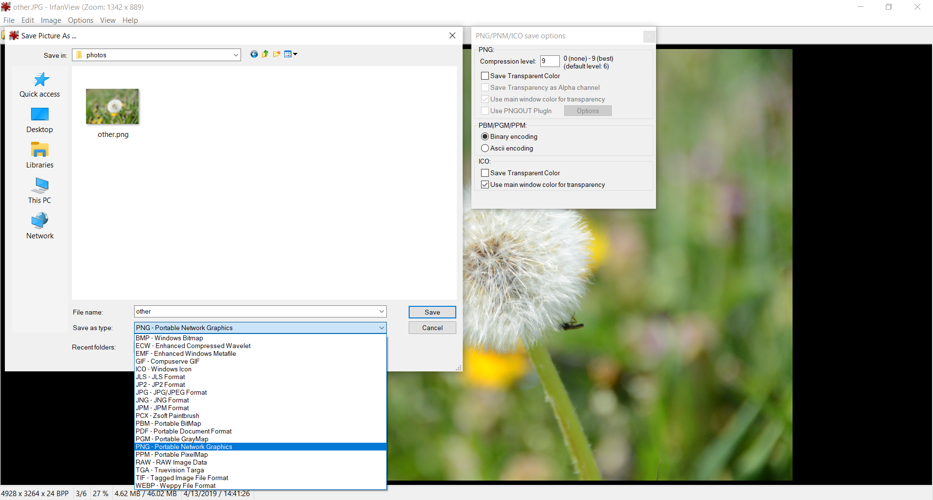 Popular file format conversion with Irfan View