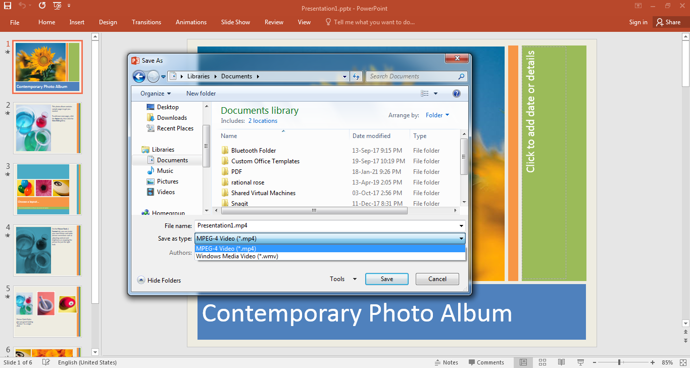How to convert PPTX to MP4 with Microsoft PowerPoint?