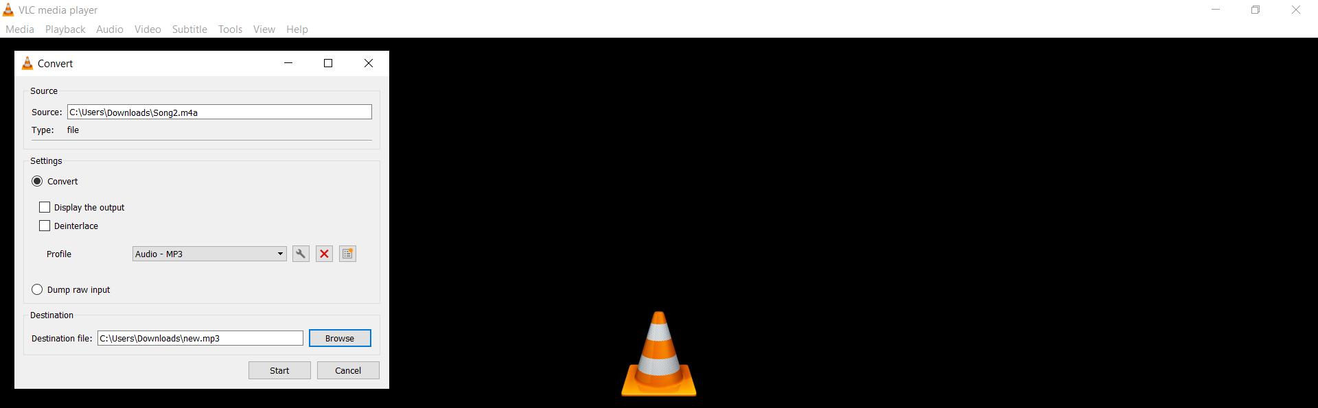 Converting audio files using VLC