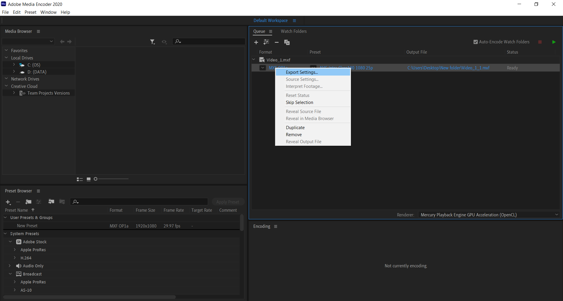 How to convert MXF to MP4 file using Adobe Media Encoder?