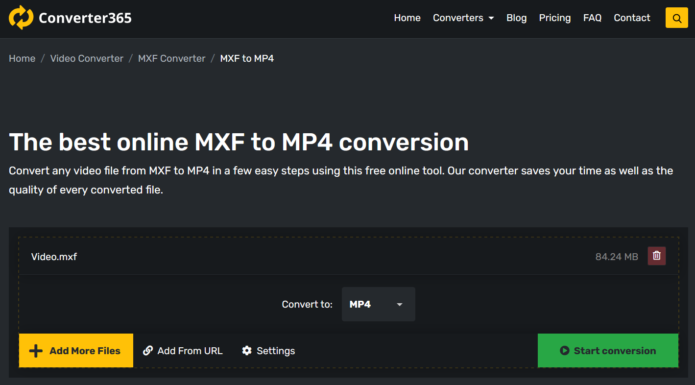 How to convert MXF to MP4 online?