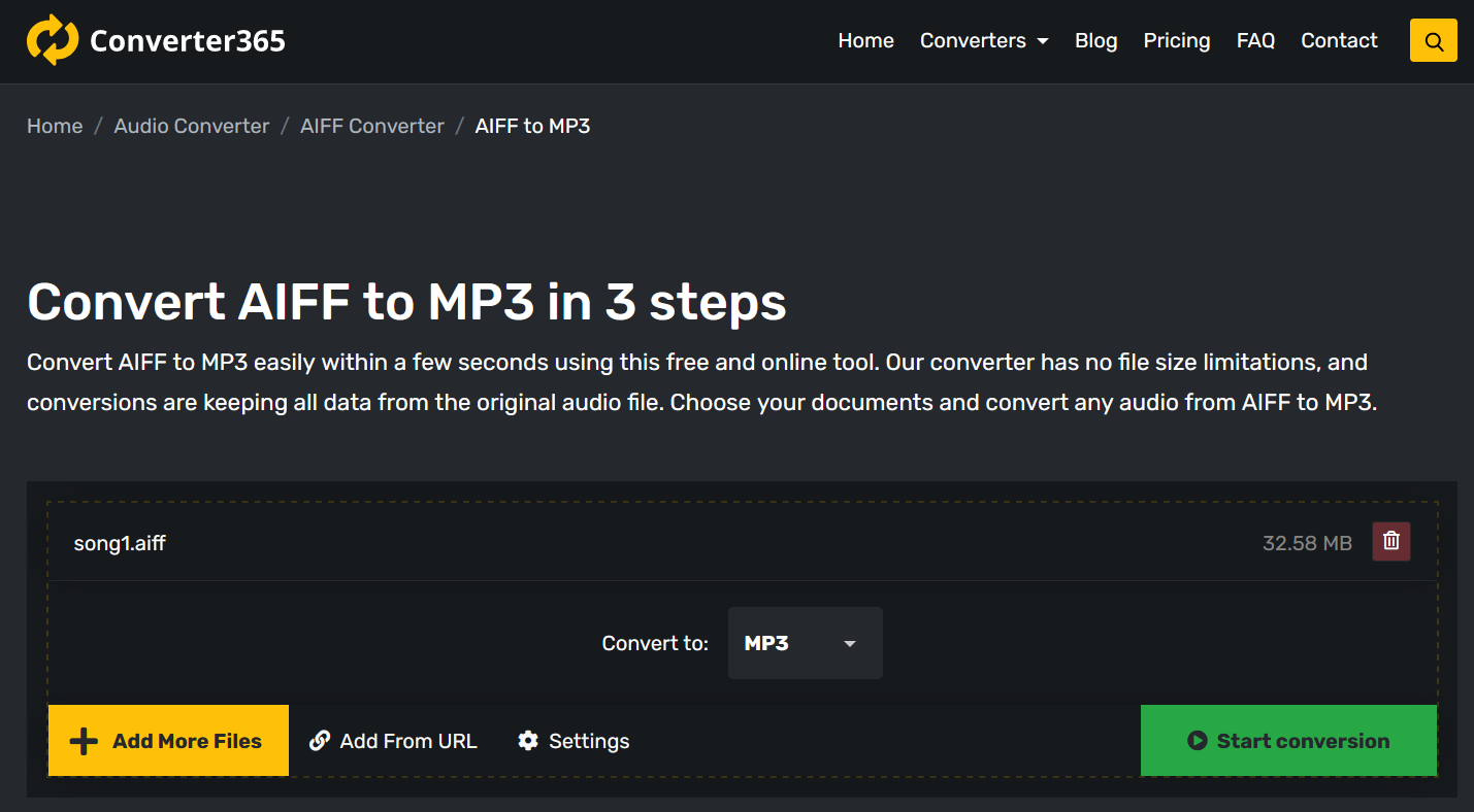 How to convert AIFF to MP3 online?