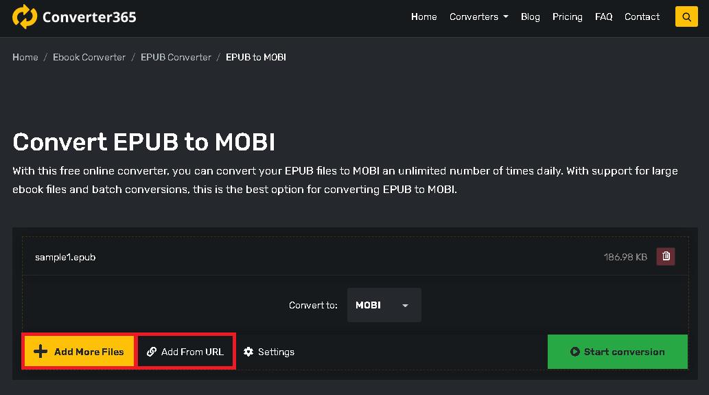 convert epub to mobi - step 1
