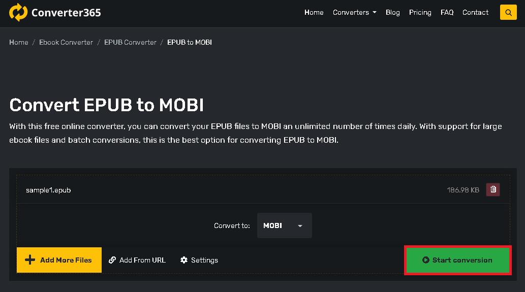 convert epub to mobi - step 2