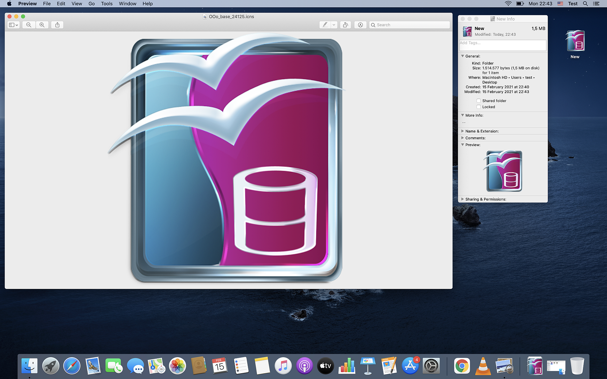 A customized icon on Mac OS