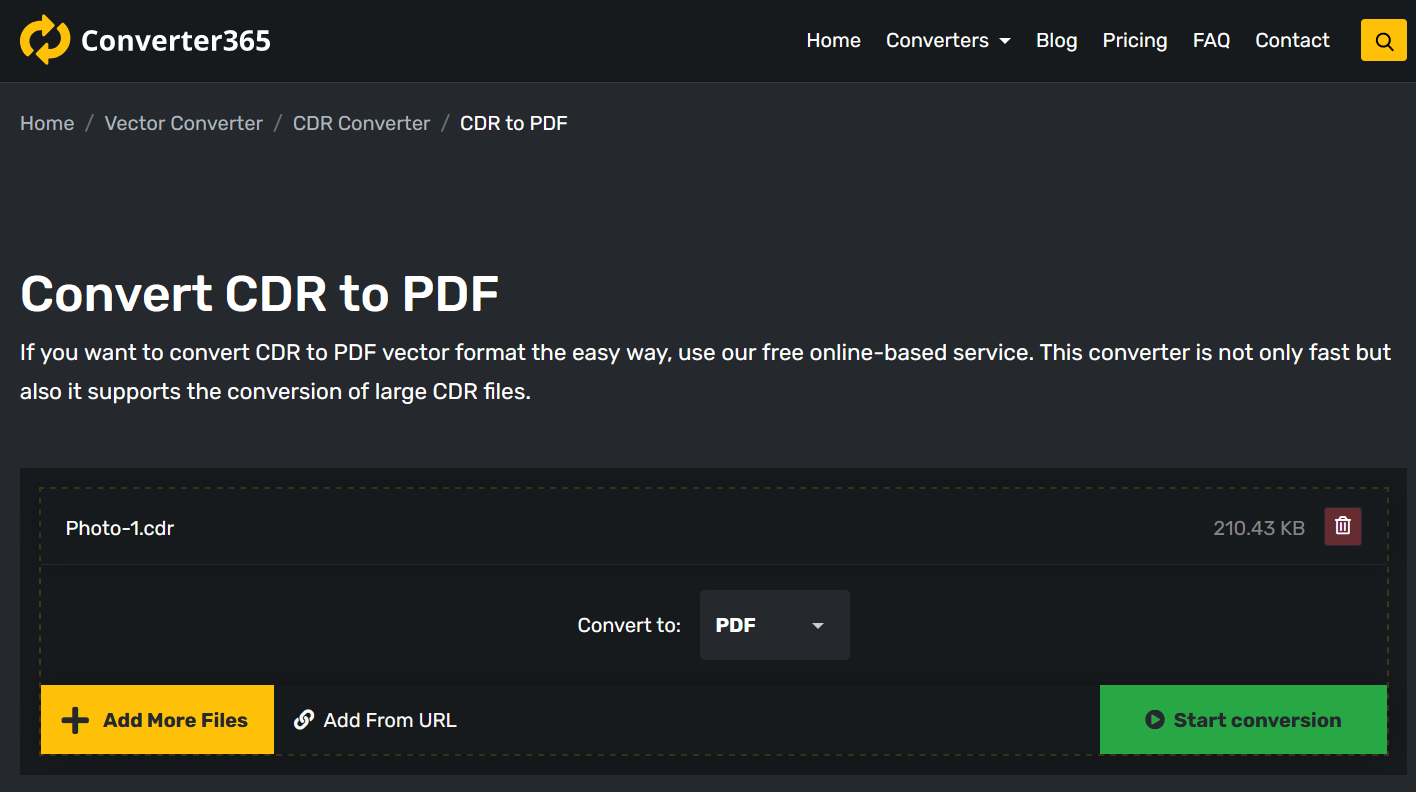 How to convert CDR to PDF online?