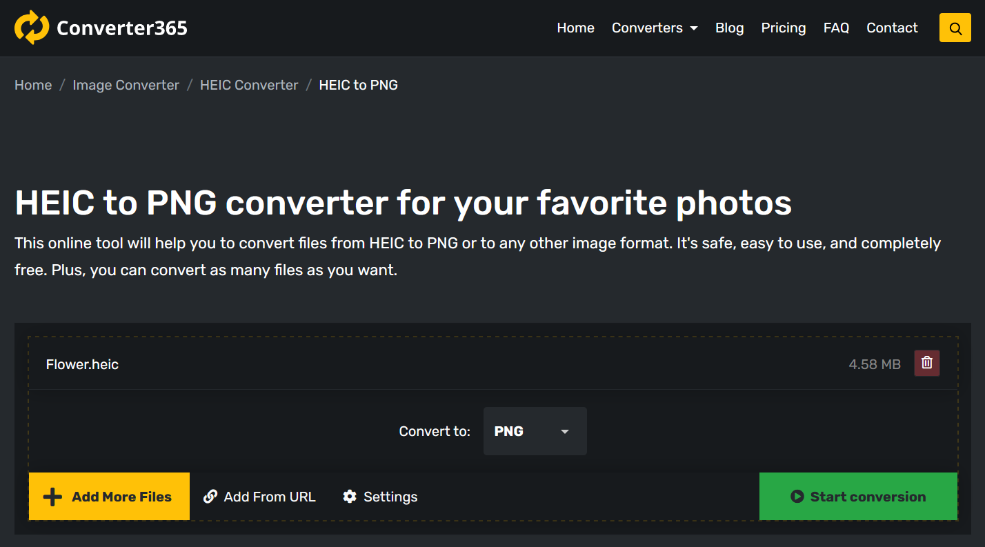 How to convert HEIC to PNG online?