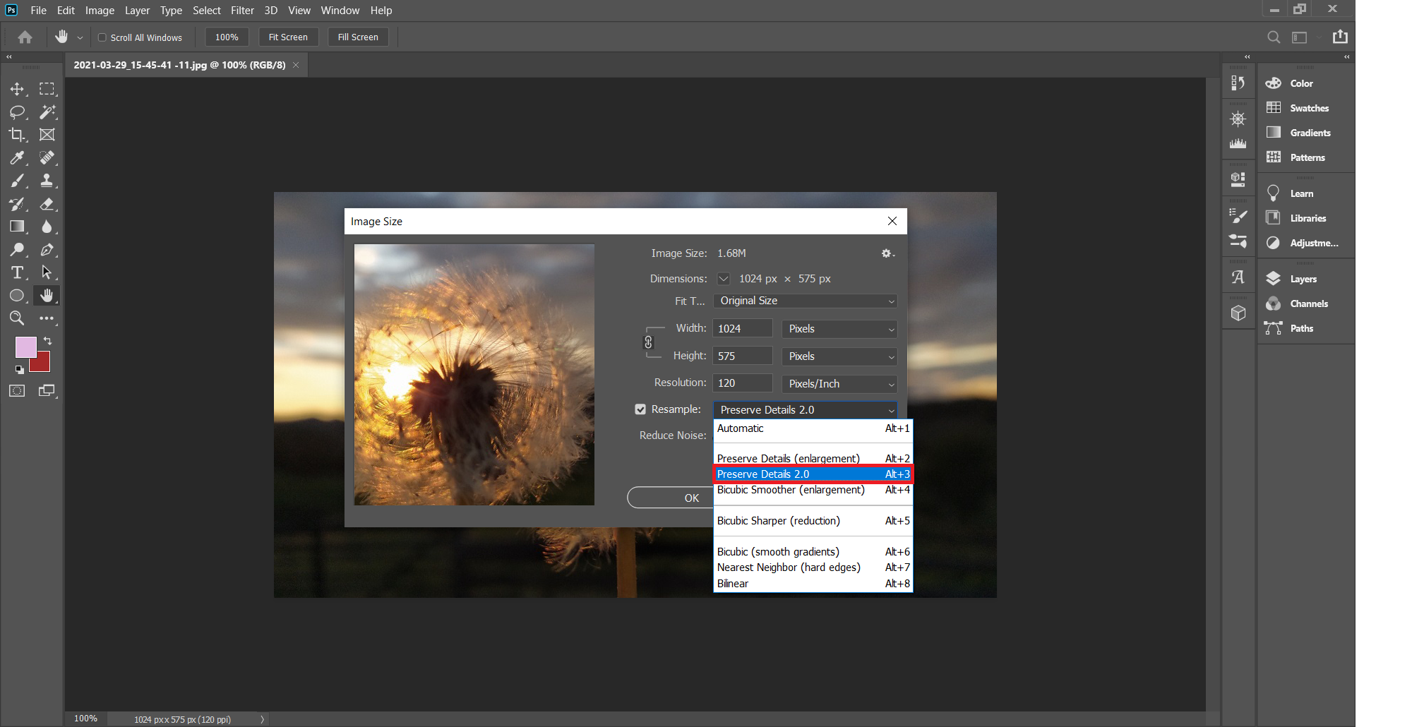 Convert low resolution image to high resolution in Photoshop