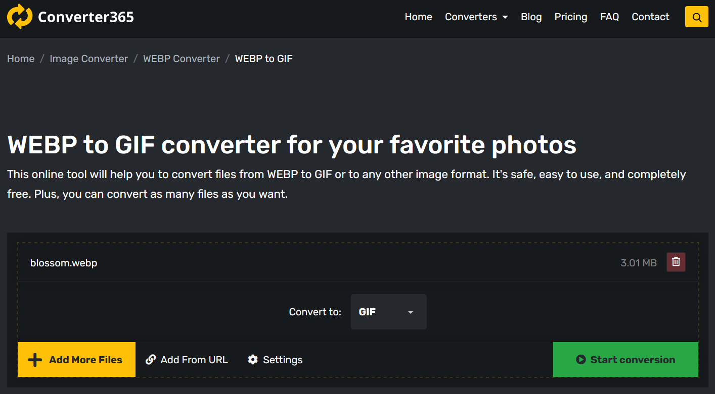 How to convert WEBM to GIF free online?