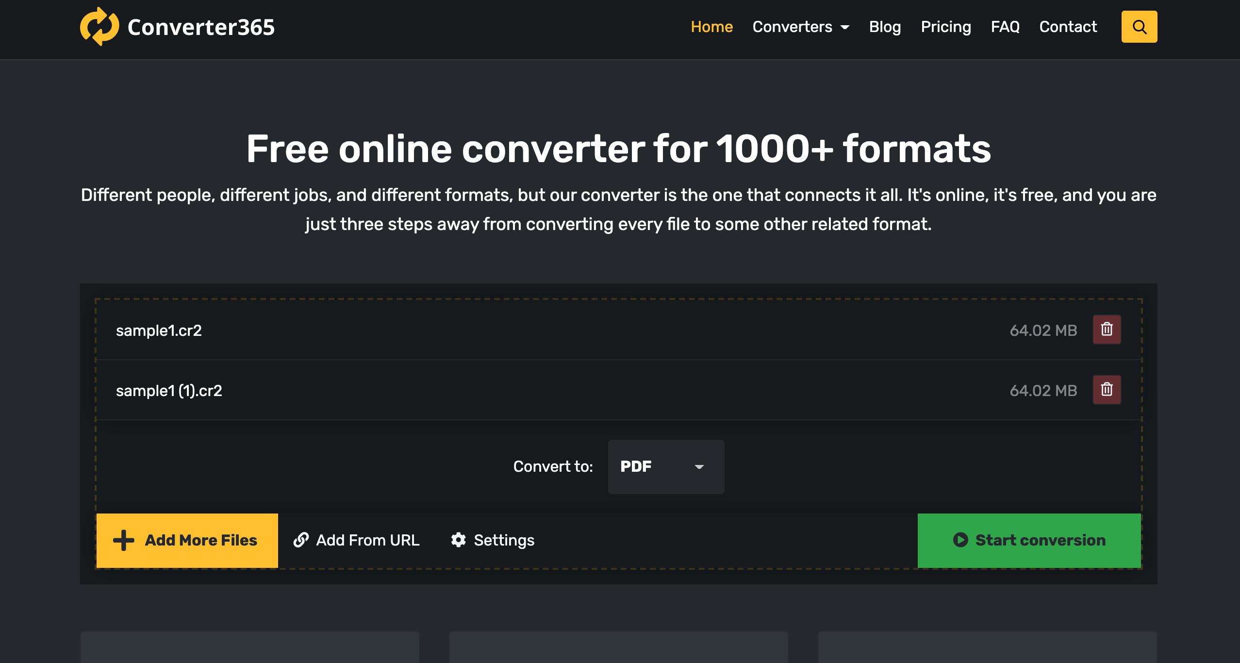 convert cr2 to jpg sonverter365 step 1