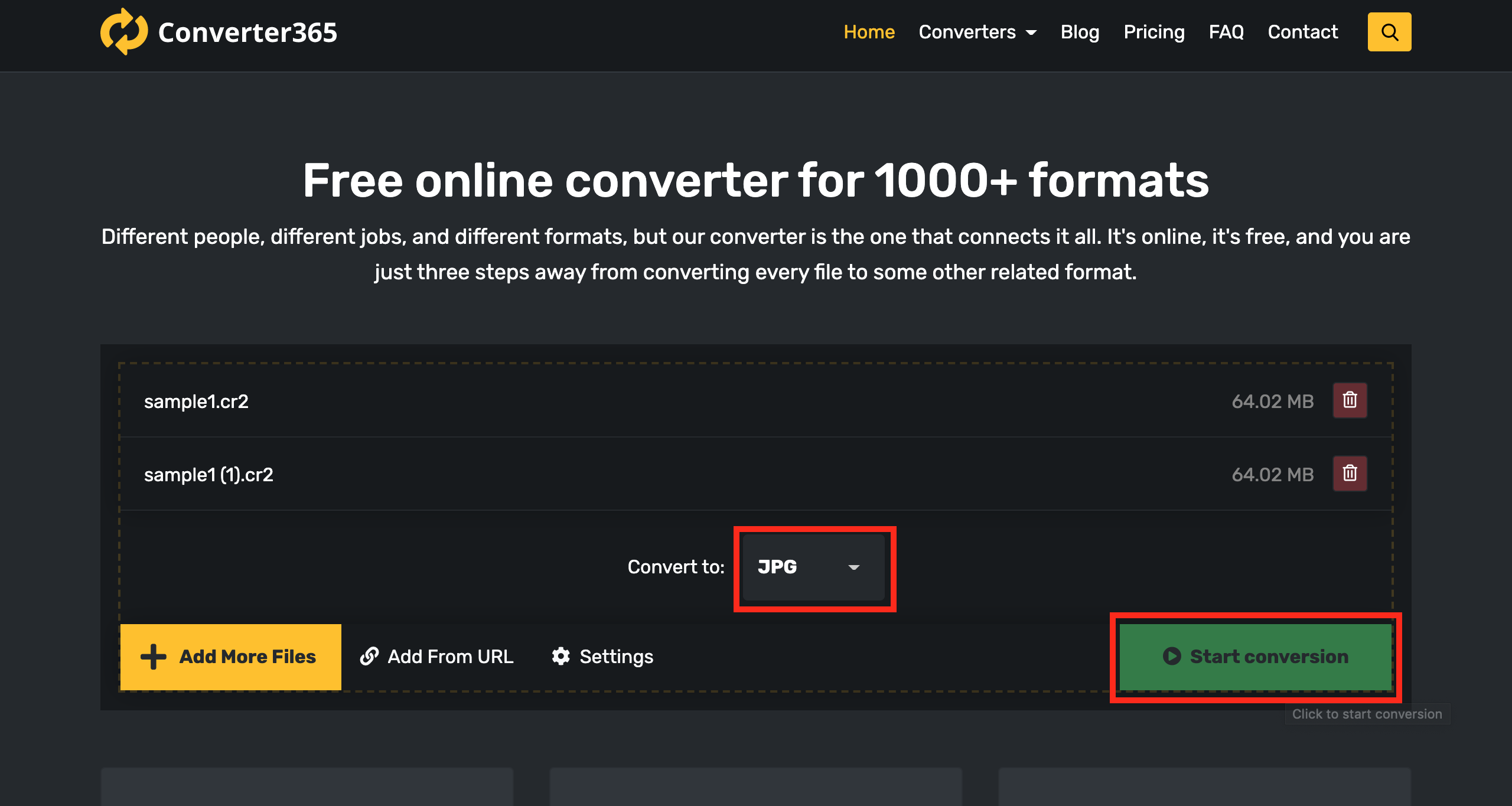 convert CR2 to JPG using Converter365 - Step 2