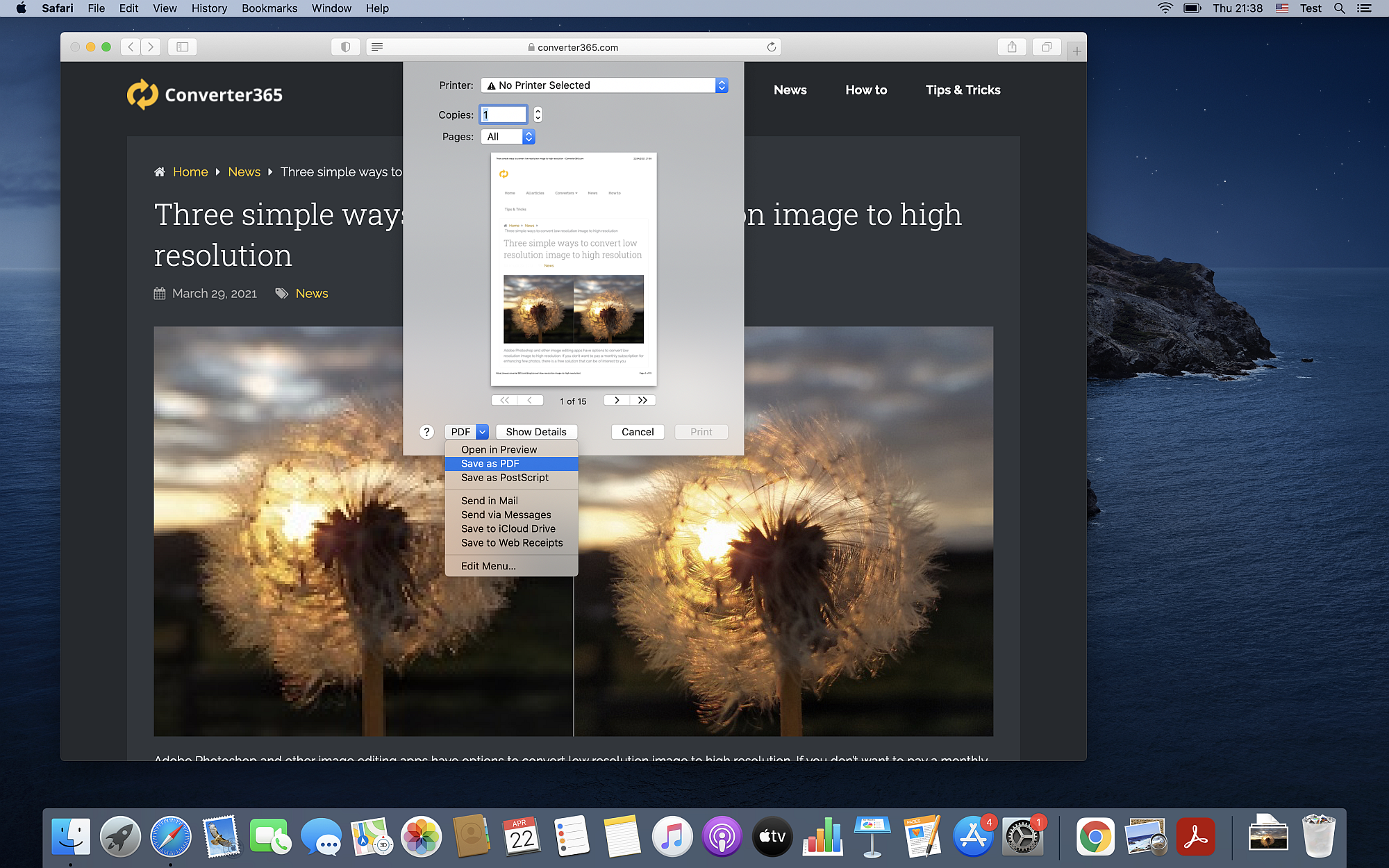 How to save a webpage as a PDF on Mac OS using Safari?