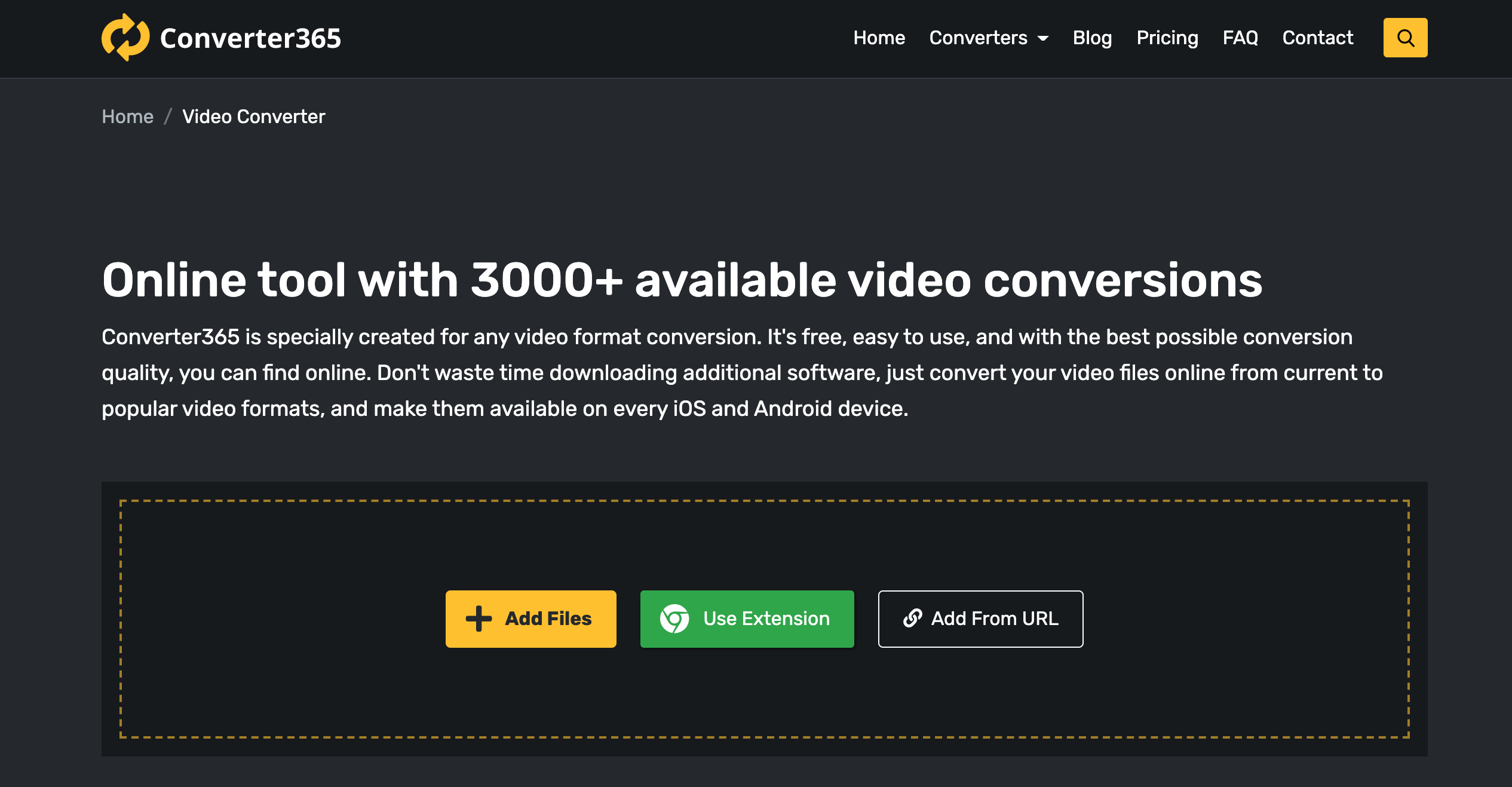 Converter365 free online video tool for the conversion