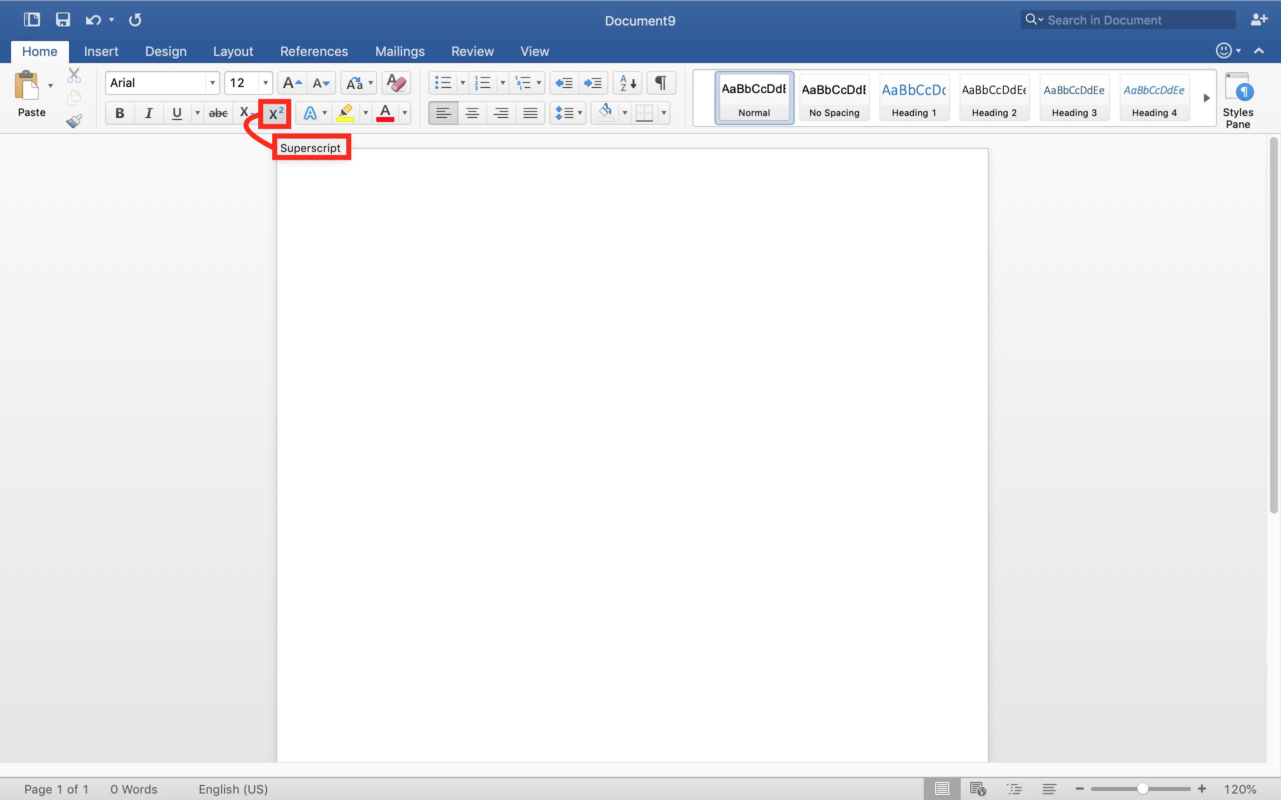 add a superscript or subscript in Microsoft word document Mac