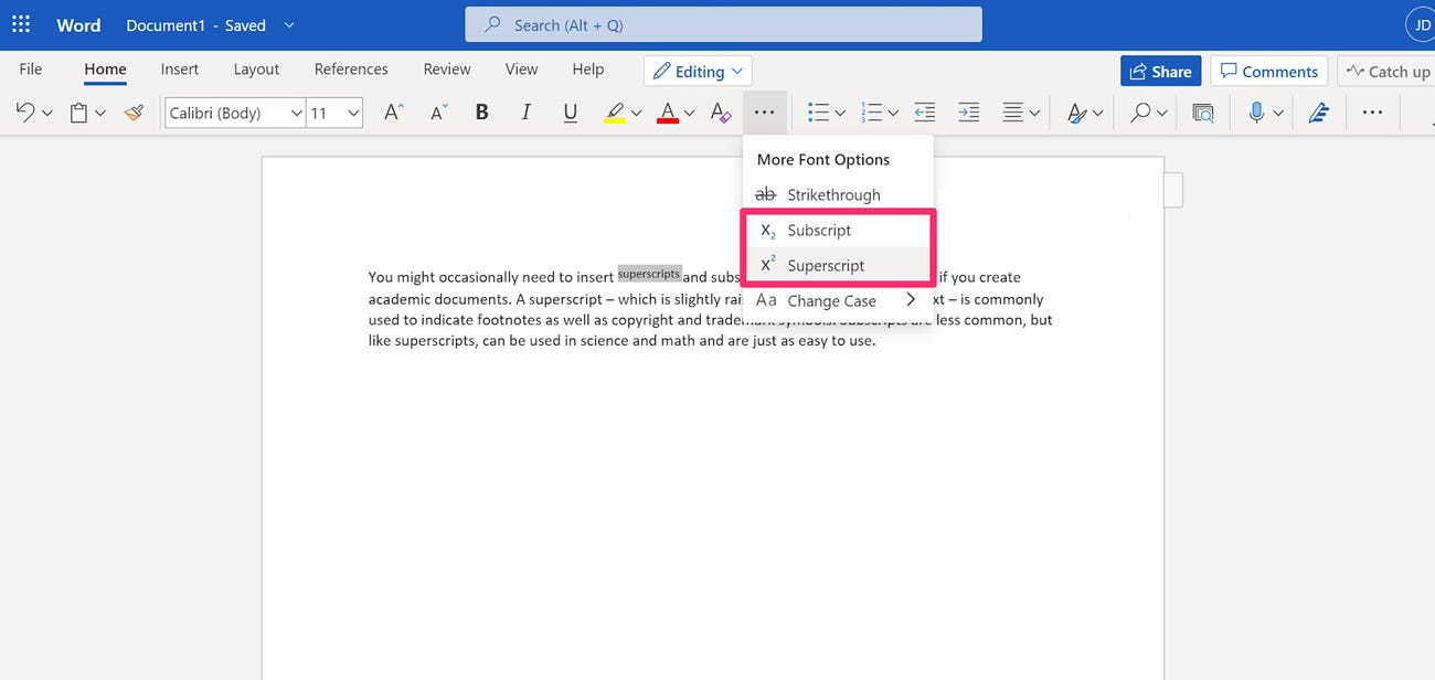 add superscript or subscript to your files with Word Online