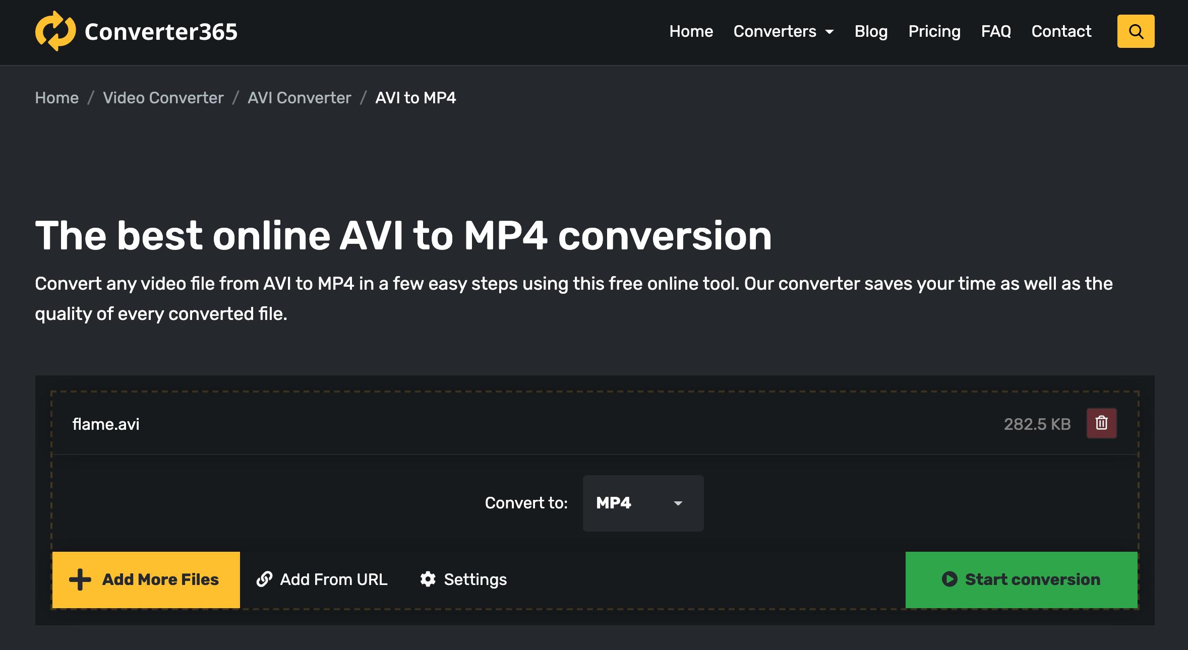 convert avi to mp4 converter365 step 1