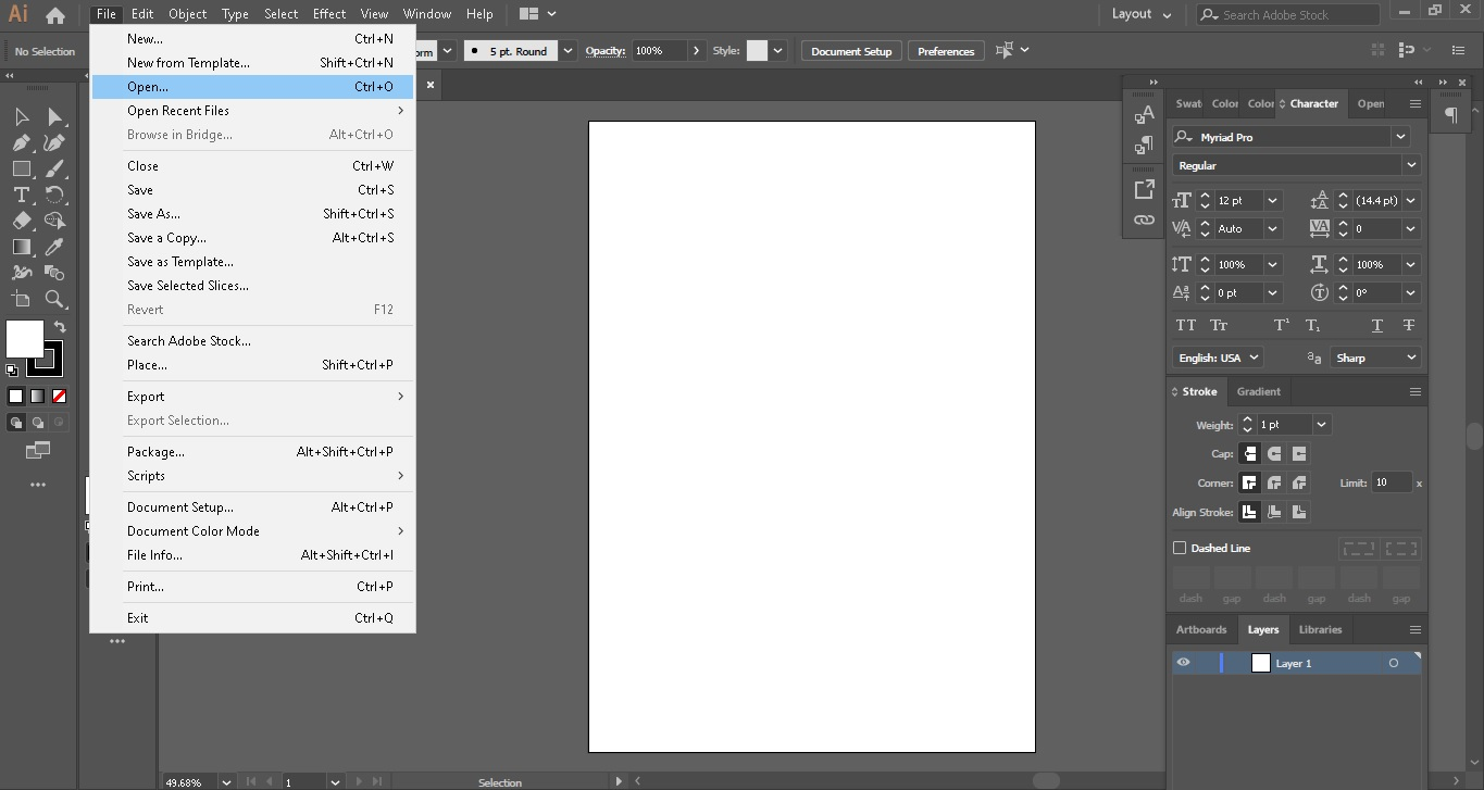 convert png to pdf with illustrator step 1