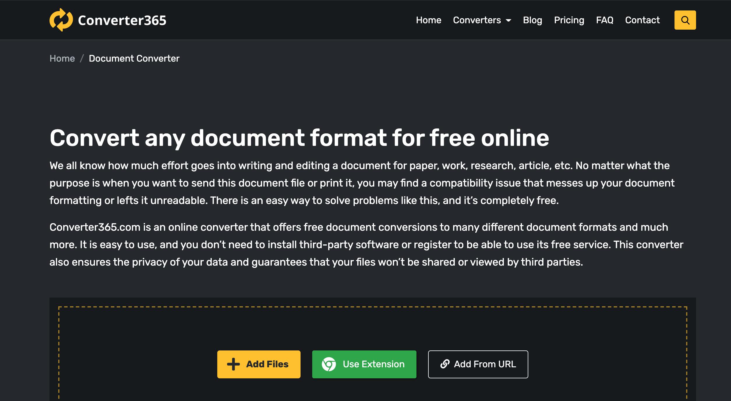 Converter365 free online document tools converter