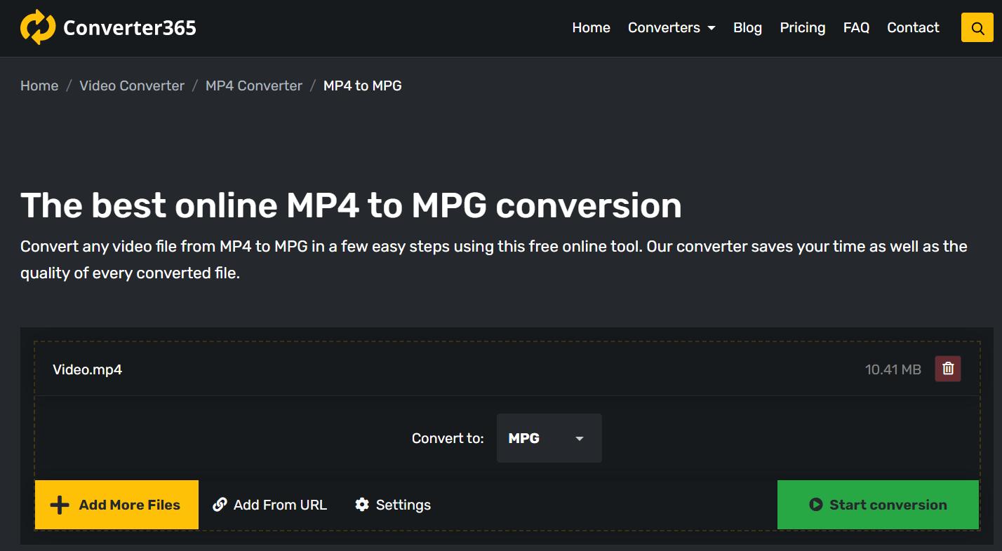 Best way to convert MP4 to MPG free online