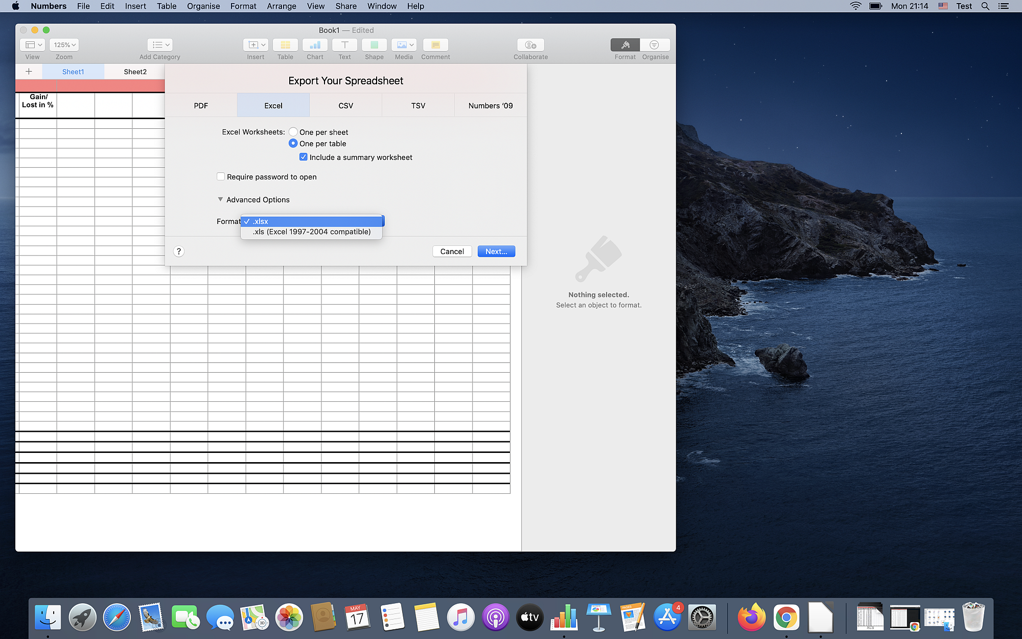 How to convert XLS to XLSX on Mac OS Catalina using Numbers?
