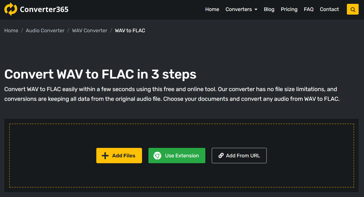 How to convert WAV to FLAC using a free online tool?