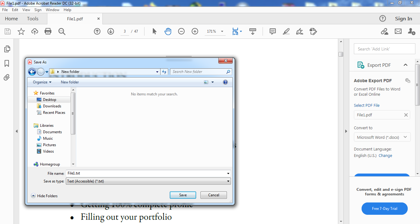 How to convert PDF to TXT in Adobe Acrobat Reader DC?