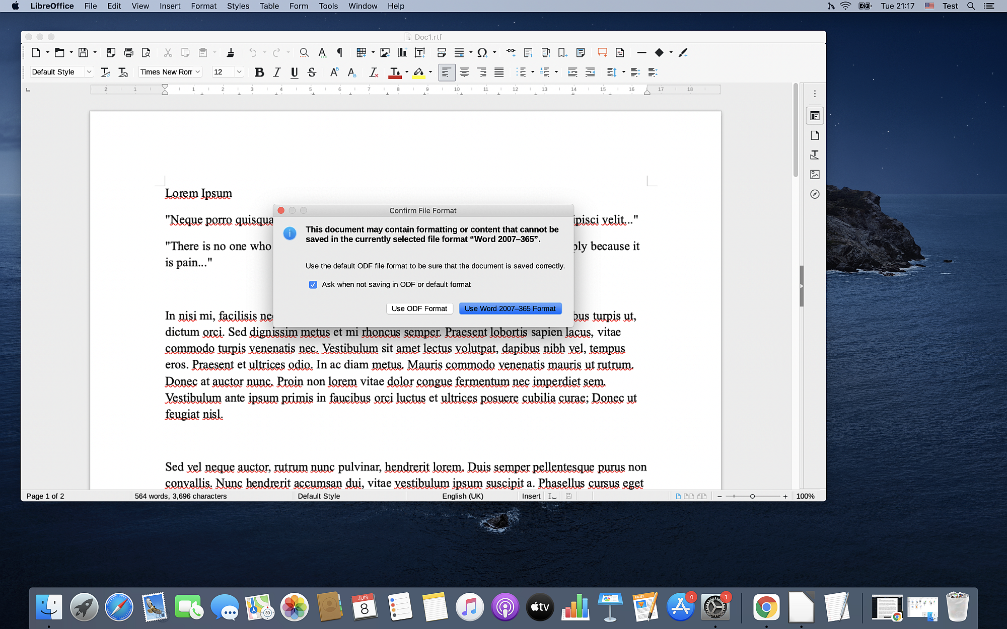 How to use LibreOffice Writer as RTF to DOCX converter on Mac?