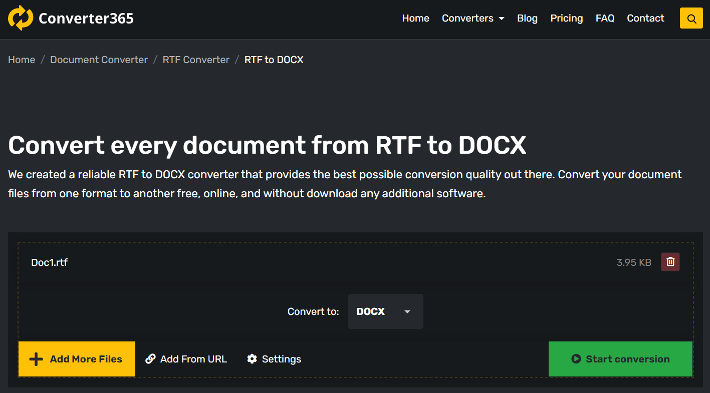 How to use free online RTF to DOCX converter?