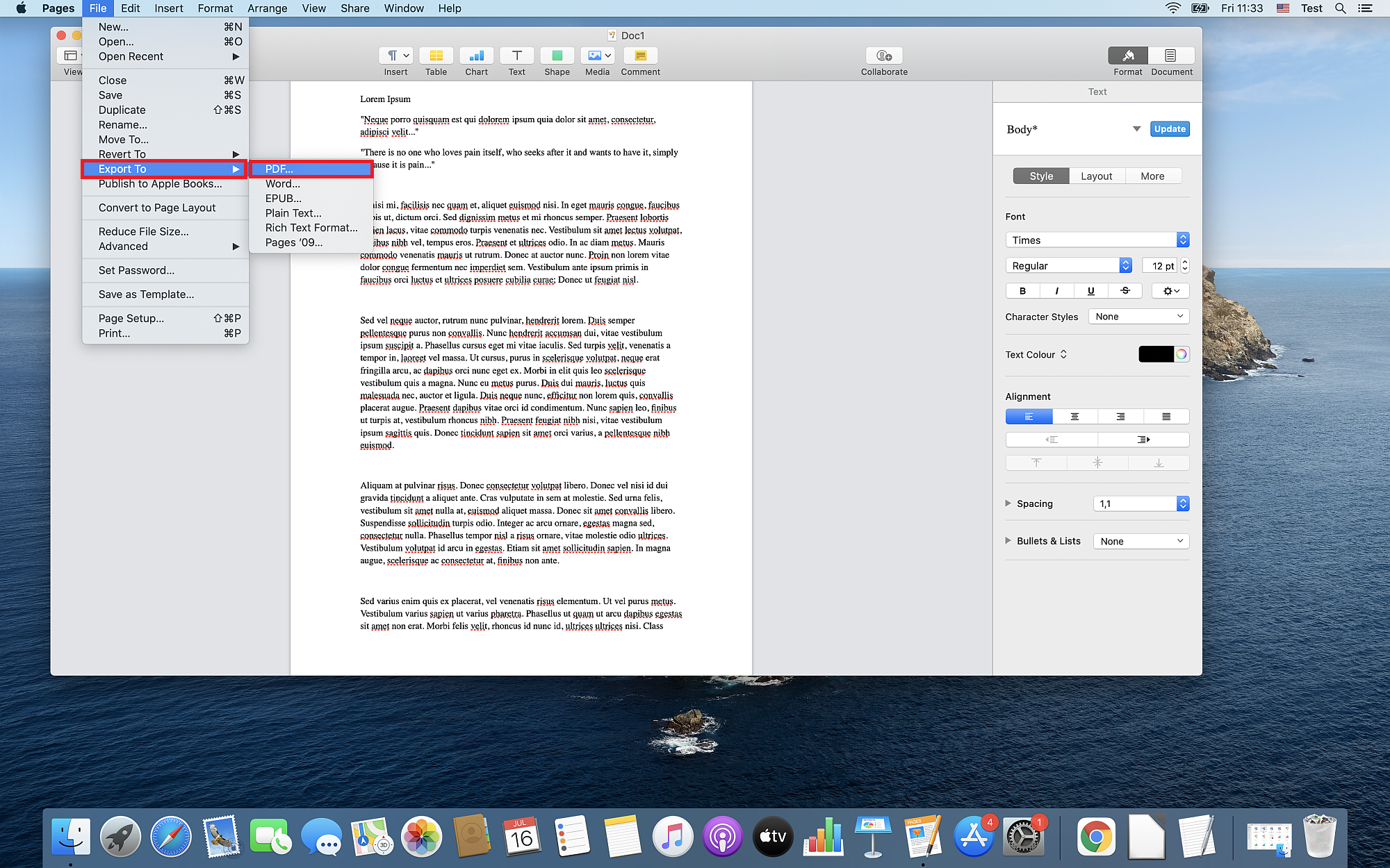How to convert a PAGES document to PDF on macOS Catalina?
